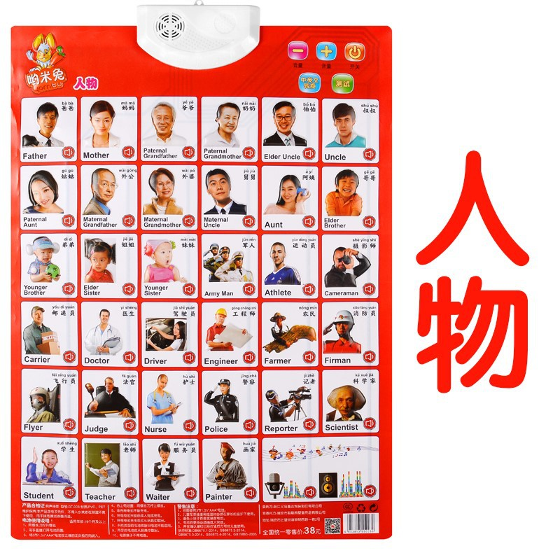 Audio Chart Pinyin Children Cognitive ENLIGHTEN Early Education Wall Stickers Sound Making Voice Baby With Pictures Reading Card