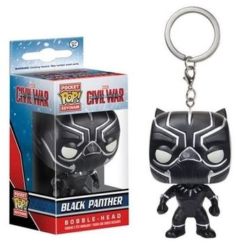FUNKO POP Superhero Keychain Spider Man Iron Man Black Panther Batman Deadpool Pendant Chain Action Figure Toys for Kids Gifts 5