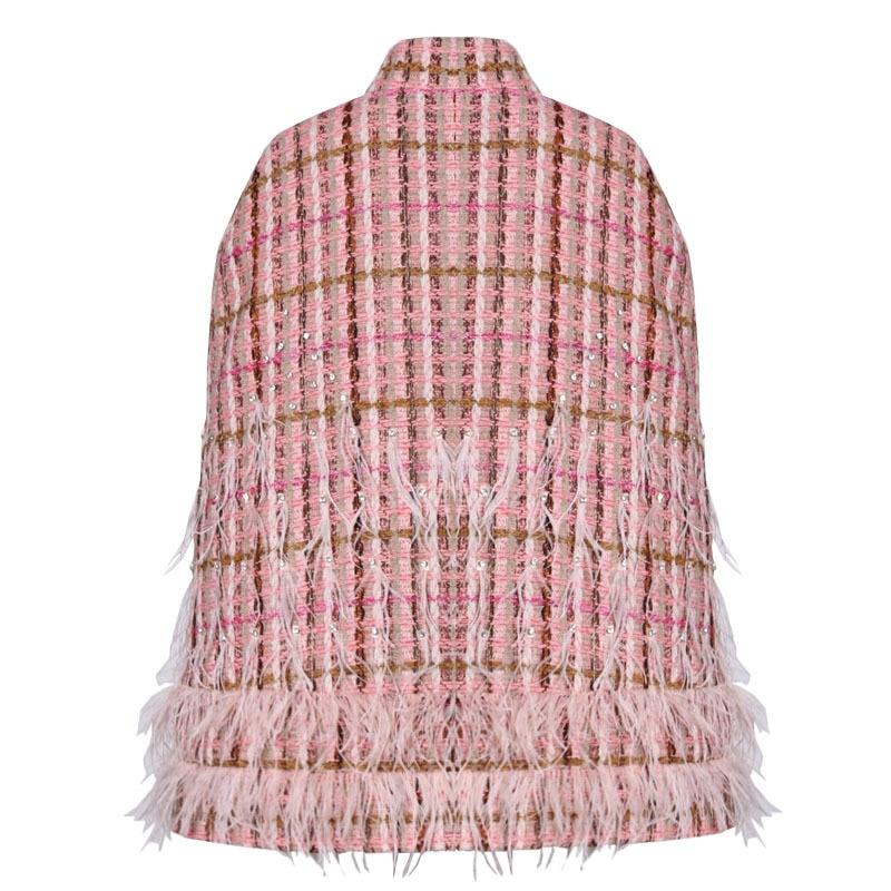 Women Winter Bats Cape Coat Cardigan Tweed Jacket Patchwork Feathers Diamonds Plaid Turtleneck Cloak Sleeve Embellished Clothes - 3