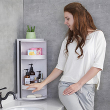 Hot selling extra-large waterproof bathroom rotating storage rack no perforation desktop cosmetics box organize shelf pl