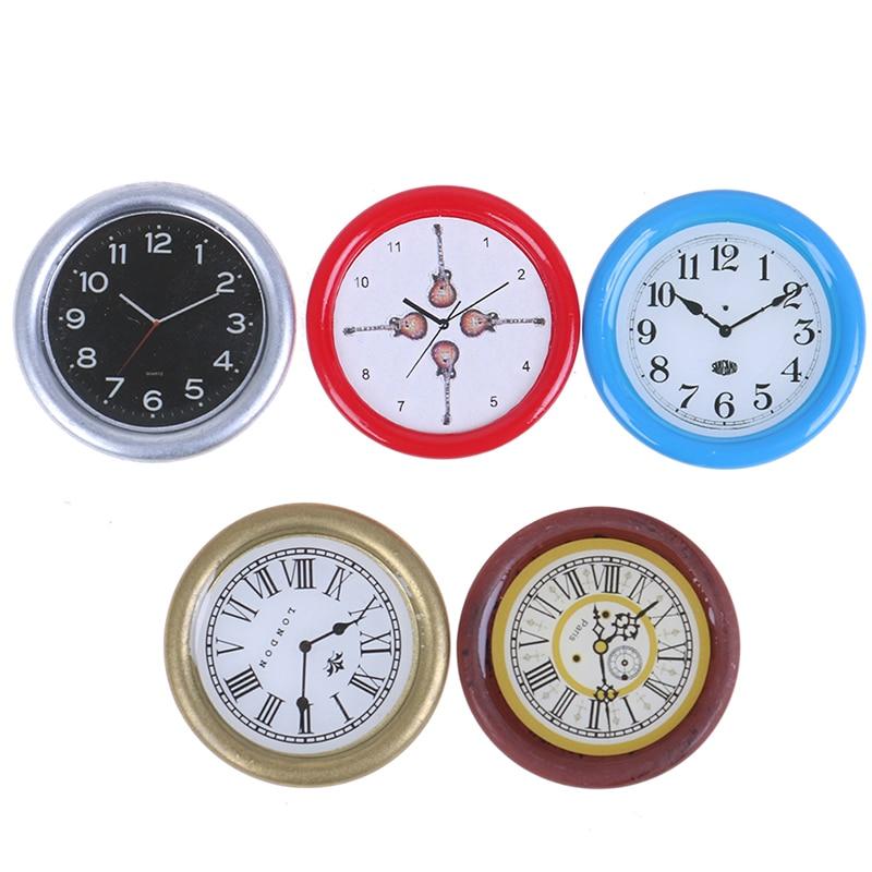 Retro Wooden Furniture Silver Brown Wall Clock 1//12 Dollhouse Miniaturer