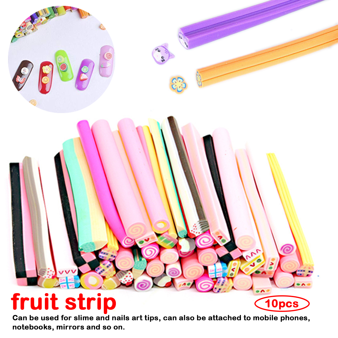 10pcs/Set Fruit Slices For Slime Supplies Nails Art Tips Clay Artificial Fruit Slices Sticks Slimes Toys DIY