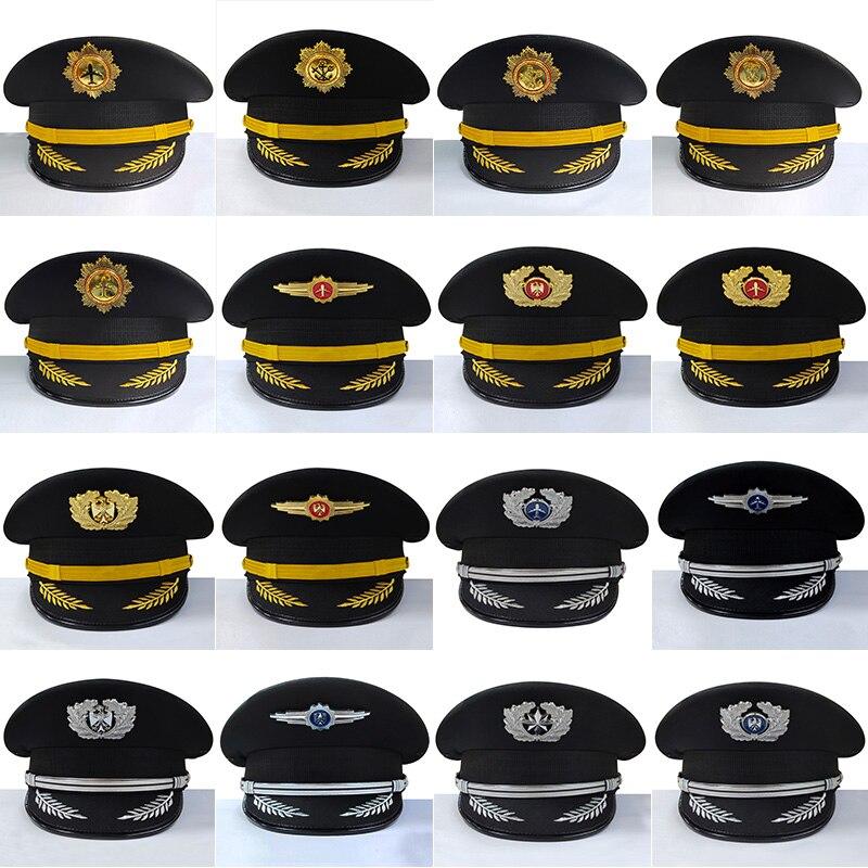 New Style Men Pilot Security Cap Captain Aviation Caps Women Ship Sailor Embroidered Hats Uniform Hat Accessories Cap Badge