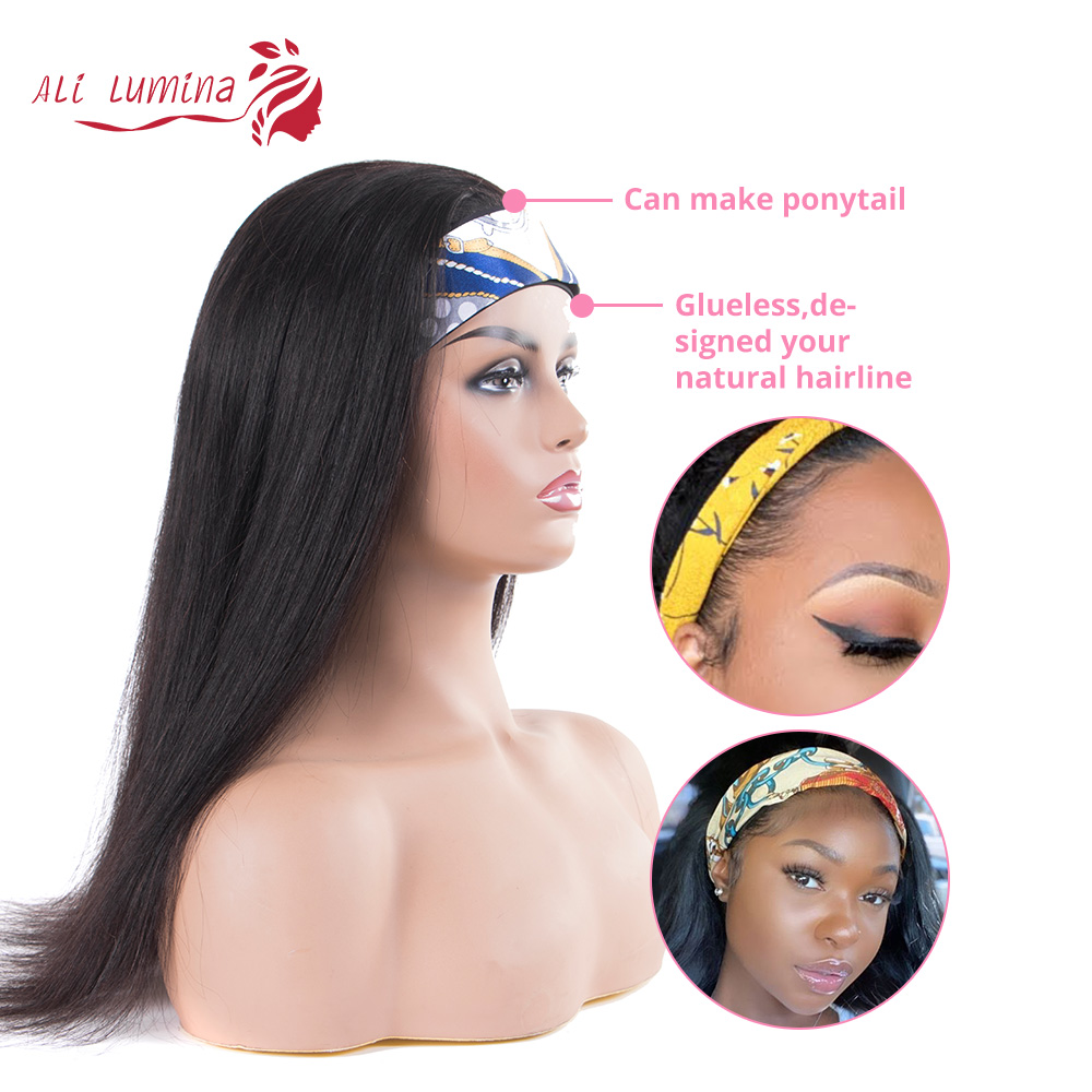 Wigs Full Machine Made Wig 130 150 Density Headband Wig  Hair Straight  Hair Easy Wearing Glueless Wig 2