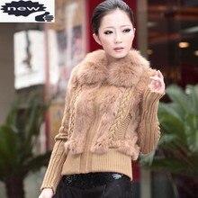 Sweater-Jackets Coats Fox-Fur-Collar Knitted Winter Real Rabbit Women Autumn Slim Zipper