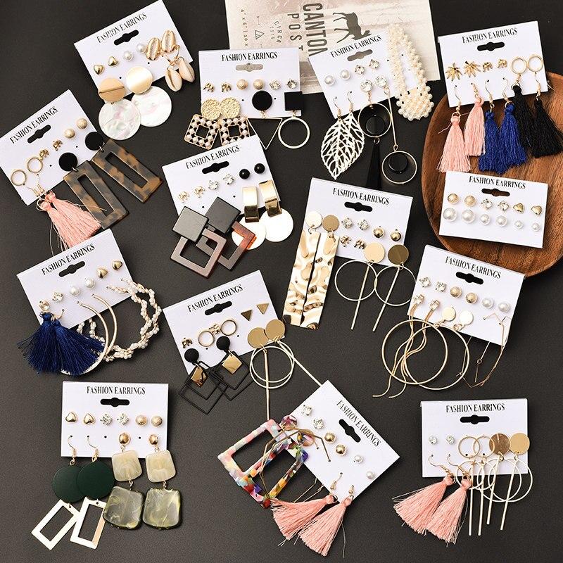 Hot Sale Fashion Bohemian Earrings Set For Women Round Geometric Drop Earring 2020 Pearl Earrings Set Female Fashion Jewelry