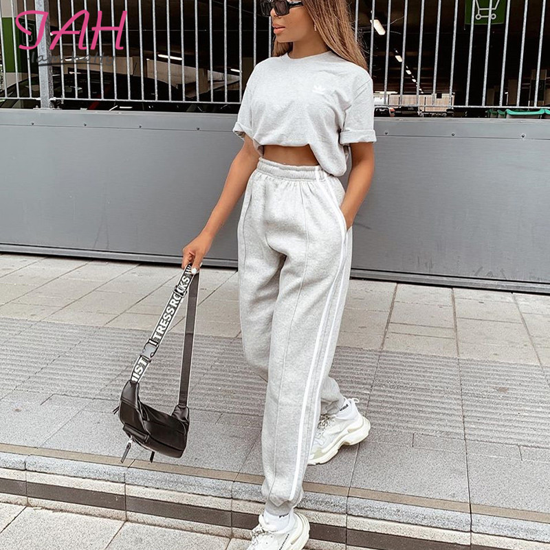 IAMHOTTY Gery Pocket Casual Cargo Womens Pants High Waisted Baggy Basic Hip-Hop Harem Pants Harajuku Joggers Sporty Pantalon New