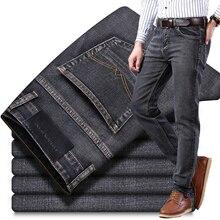 Осень-зима, новинка, классический стиль, мужские серые джинсы, бизнес стиль, модные, мягкие, стрейчевые, джинсовые брюки, мужские, брендовые, подходят, брюки, черные, синие