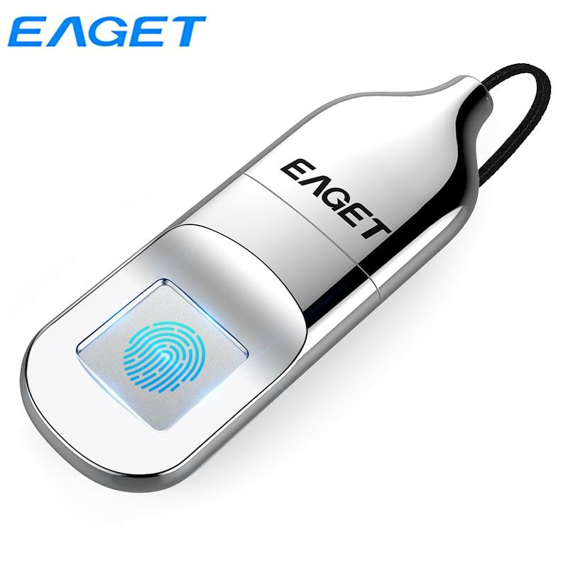 Eaget USB 2.0 Flash Drive 64GB 32GB Fingerprint Recognition Verification Privacy Encrypted Elegant Pen Drive Security U Disk FU5