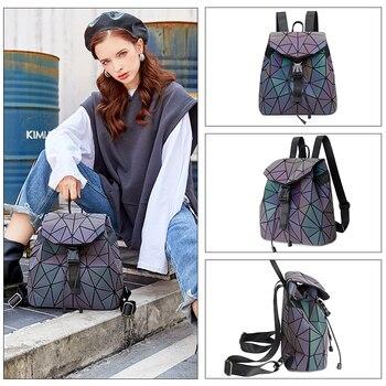 Women Luminous Backpacks Fashion Female Shoulder Bag Girl Daily Backpack Geometry School Travel Bags Laser Hologram