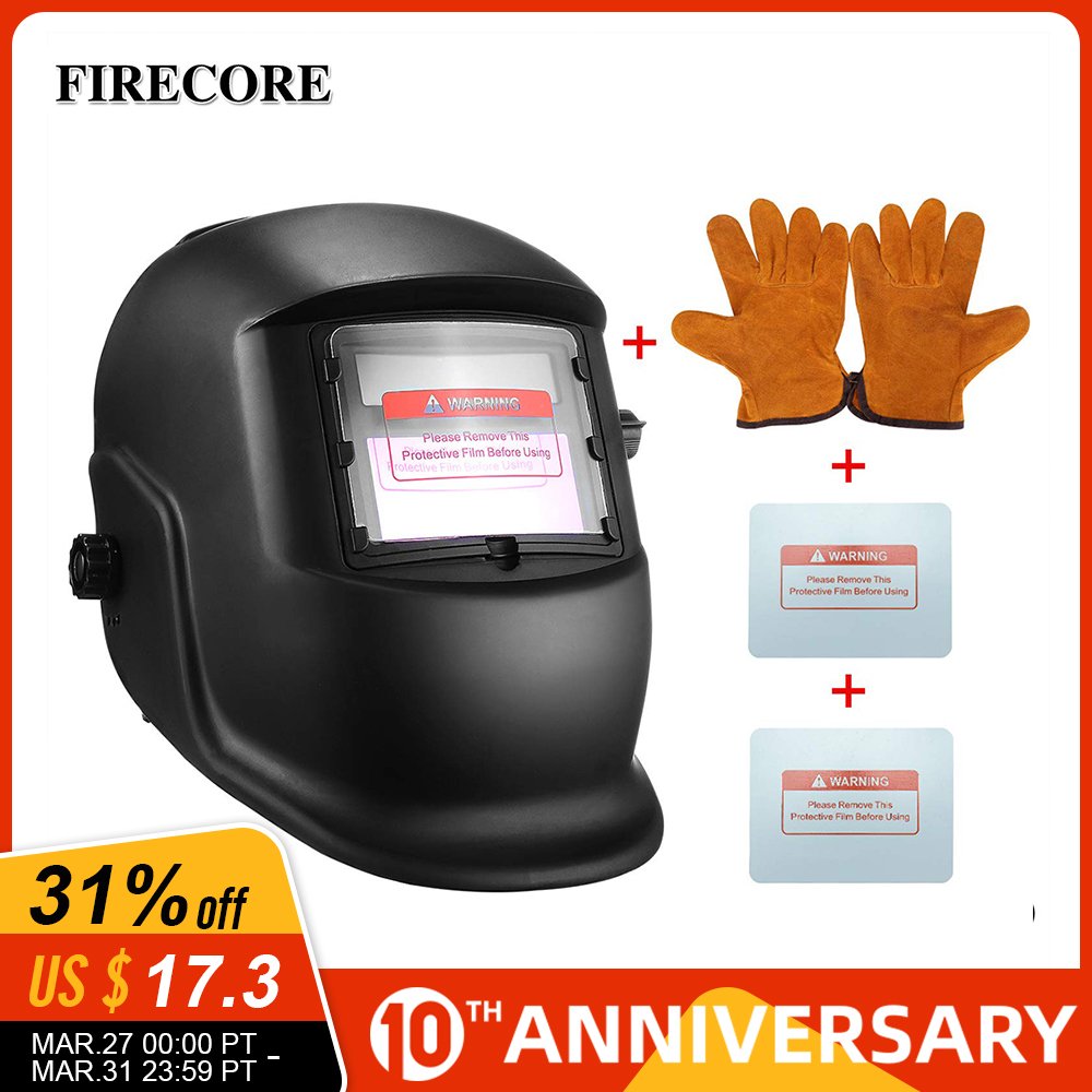FIRECORE Solar Automatic Darkening Adjustable Range 4/9-13 MIG MMA Welding Helmets