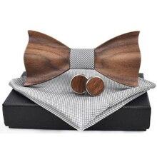 3D деревянный галстук Квадратные запонки модный деревянный галстук-бабочка свадебный ручной работы деревянный галстук набор
