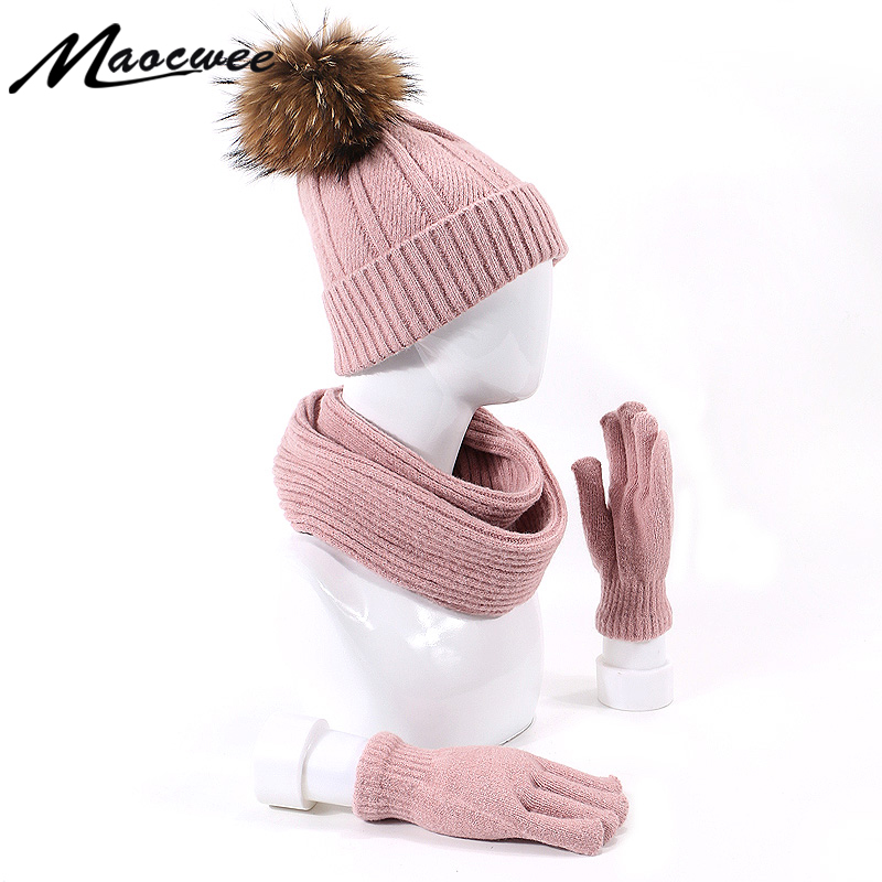 2019 New Fashion Girls Scarf Knitting Pompon Hat Gloves Set Three Outdoor Warm Winter And Autumn Autdoor Warm Hat Scarf Gloves