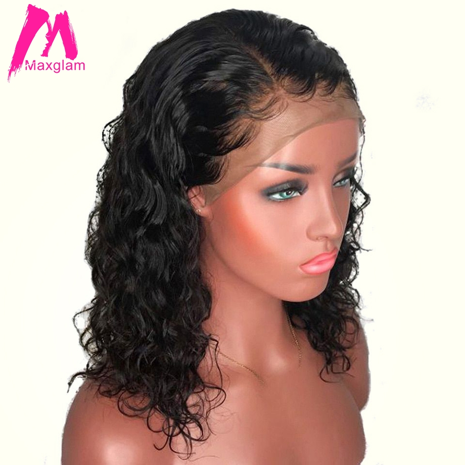 Short Human Hair Wig Brazilian Water Wave Bob Lace Front Human Hair Wigs Pre Plucked For Black Women Remy Hair 13x4 130 Density