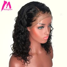 Short Human Hair Wig Brazilian Water Wave Bob Lace Front Human Hair Wigs Pre Plucked for Black Women Remy hair 13x4 130 density(China)