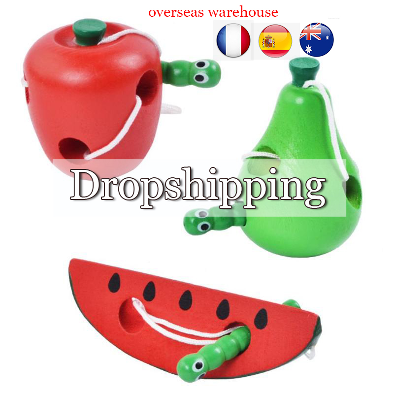 Children Thread Wooden Toy Worm Eat Fruit Pattern Weird Baby Toy Montessori Early Learning Toys Teaching Aid Educational Toys
