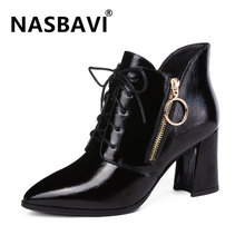 NASBAVI New Autumn Winter Fashion Women Boots High Heels Lace Up Zipper Leather Short Booties Black Red Ladies Shoes Promotion(China)