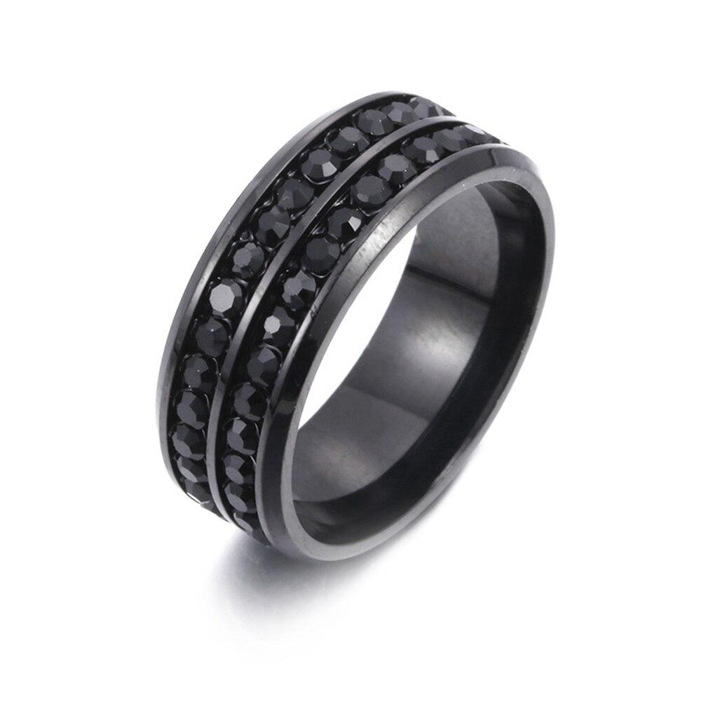 Loredana стильные двухрядные циркониевые кольца из нержавеющей стали для мужчин и женщин