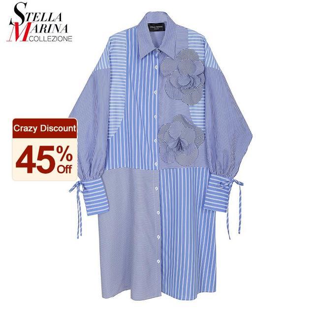 Blue Striped Shirtdress flower accent 1