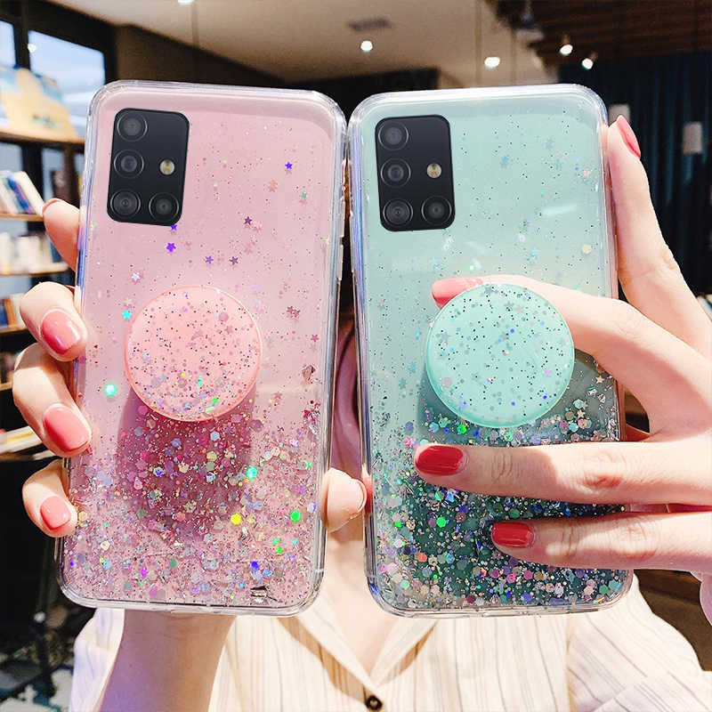 Bling Glitter Case Voor Samsung Galaxy A51 Gevallen Voor A50 A71 A10 S20 A6 Plus 2018 M31 M40 M30 M20 j8 J7 J5 Prime J4 J6 Soft Cover