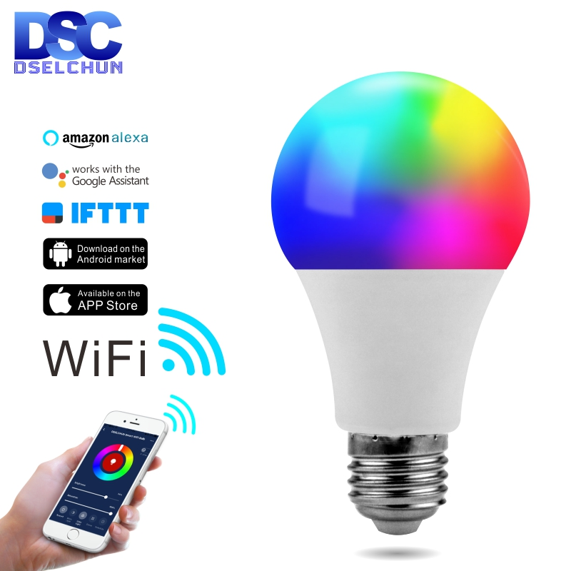 Lampada LED WIFI Bulb E27 B22 E14 Smart Light Bulb RGB+White 15W Dimmable WIFI Lamp Work With Alexa Google Assistant And IFTTT