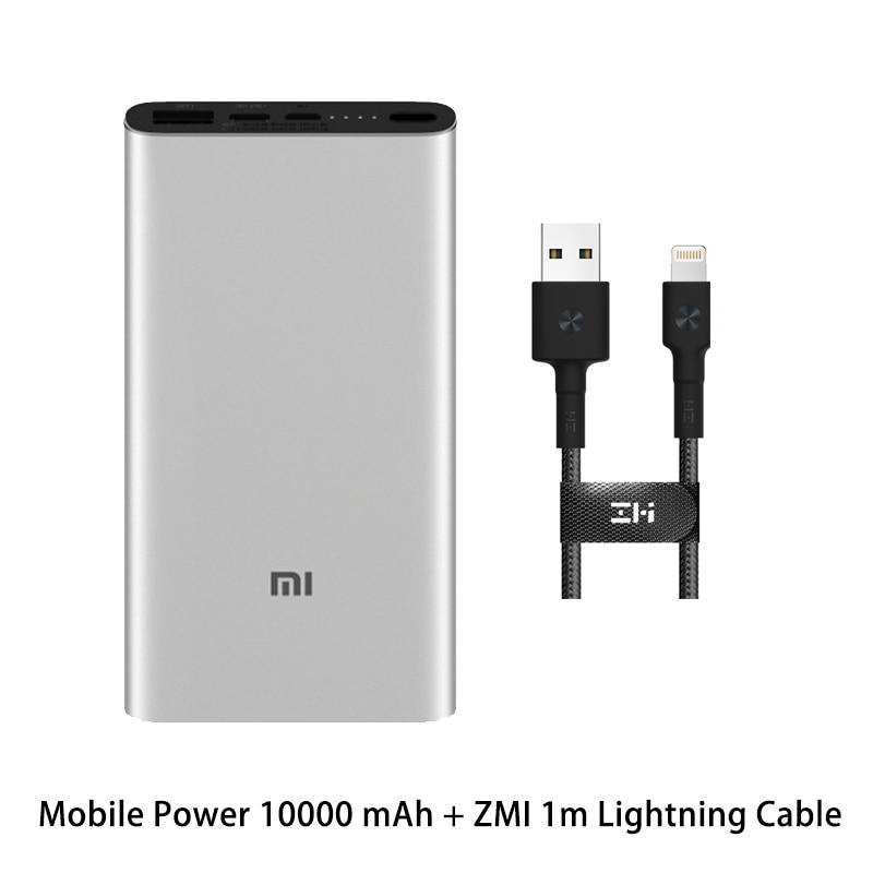 Xiaomi Mi 3 Pro 10000 мАч Внешний аккумулятор Двусторонняя Быстрая зарядка USB-C Двойной вход выход PLM12ZM 10000 мАч Внешний аккумулятор для мобильного телефона - Цвет: SilverZMI 1Lightning
