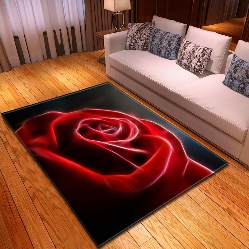 Valentine's Day Large Size Carpet Red/black Rose Flower 3D Printing Rug Wedding Decor Carpets For Living Room Bedroom Floor Mats