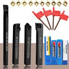 18 pçs torno torneamento conjunto de ferramentas 10 pçs carboneto inserção lâminas + 4 peças torneamento ferramenta titular 4 peças chave máquina ferramenta s12m