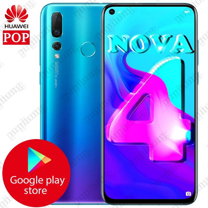 NEW HUAWEI NOVA 4 Smartphone 6.4 inch Full Screen Kirin 970 Octa Core Phone 8G RAM 128G ROM Micro-Intelligent i7 Android 9.0
