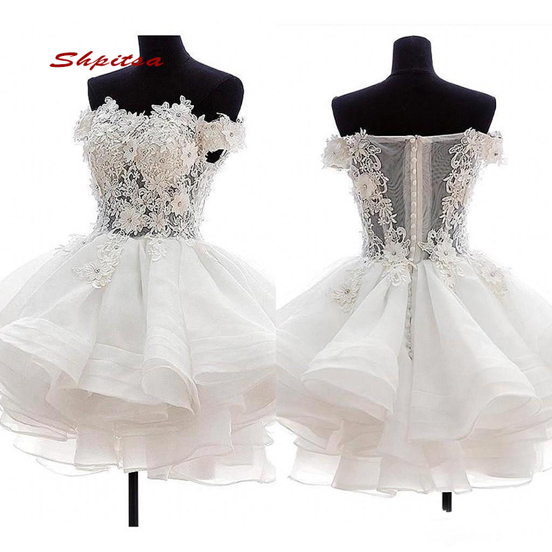 White Short Lace Cocktail Dresses Party Graduation Women Prom Plus Size Coctail Semi Homecoming Formal Dresses