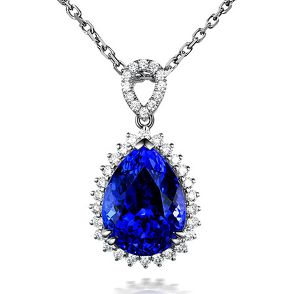 Big Blue Crystal Sapphire Gemstones Pendant Necklaces For Women Diamonds White Gold Color Bride Jewelry Bijoux Bague Party Gifts