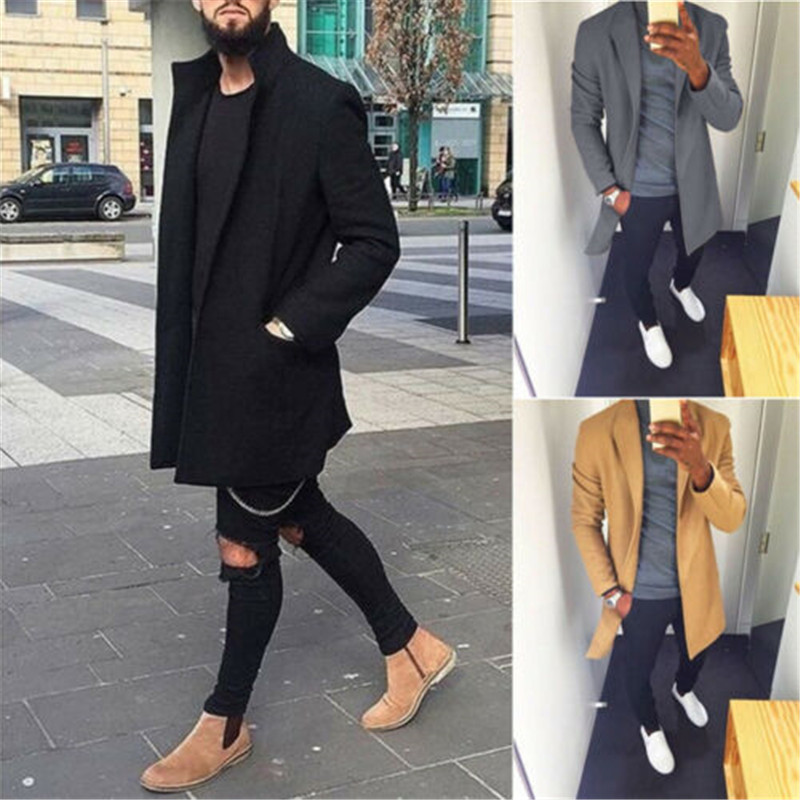 Men Modis Open Stitch Trench Coat Wool Retro Warm Long Overcoat Slim Fitness  Black Red Trench Coat Male Outwear Streetwear