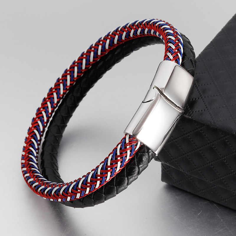 15 style mężczyźni skórzana bransoletka pleciony magnes ze stali nierdzewnej bransoletka z zapięciem zwykłym skórzanym biżuteria bransoletka męska 2019