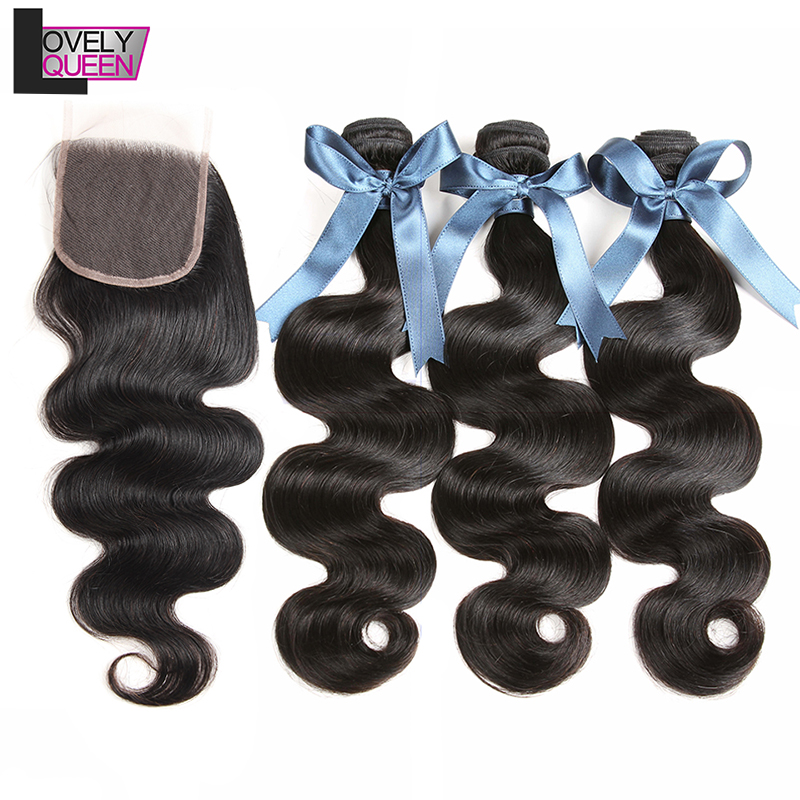 3 Pacotes Com Fecho de Onda do corpo do Weave Brasileiro Do Cabelo Pacotes Com Fecho de Cabelo Humano Pacotes Com Fecho Não-Remy cabelo