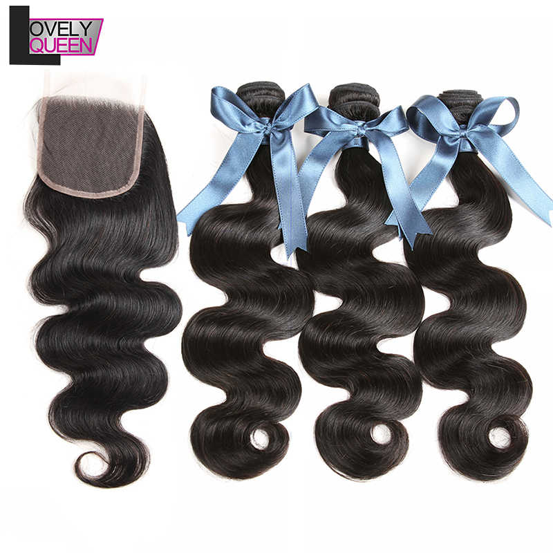 Body Wave Bundles With Closure Brazilian Hair Weave 3 Bundles With Closure Human Hair Bundles With Closure Non-Remy Hair