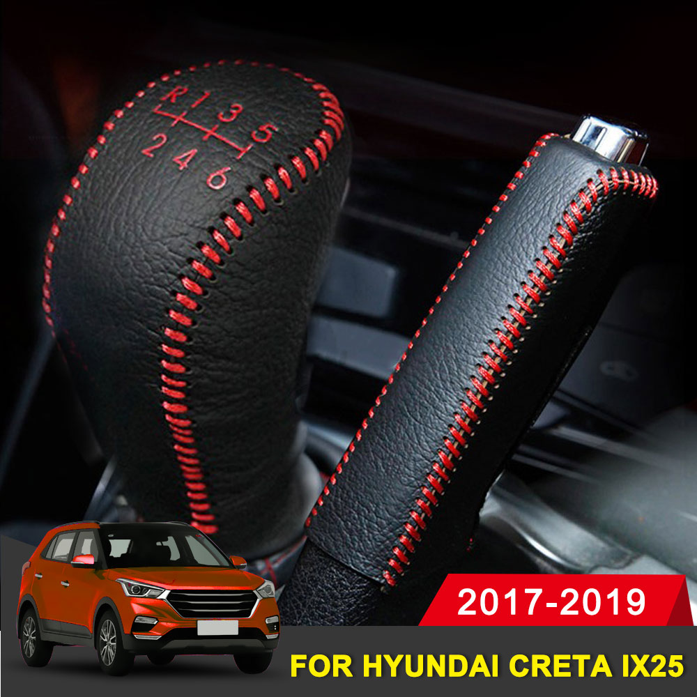 Genuine Leather Covers For Hyundai Creta Ix25 2017-2019 Accessories Car Handbrake Gear Head Shift Knob Cover Gear Shift Cover
