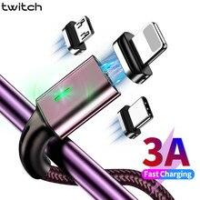 Cabo micro usb magnético 3a tipo c, fio para carregamento rápido e sincronização de dados para iphone 11 xs xr carregador magnético USB-C,