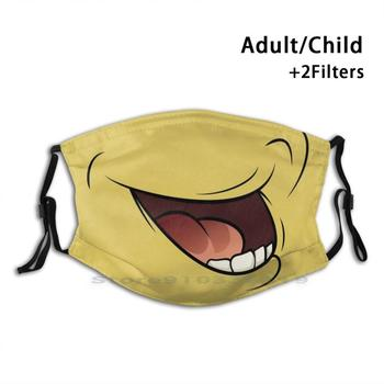 Funny Face Mask Mouth Adult Kids Washable Funny Face Mask With Filter Funny Face Smile Teeth Gnash Teeth Yellow Background image