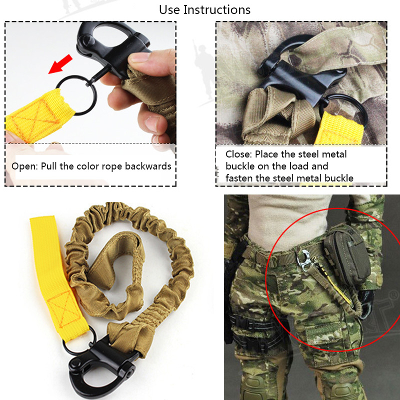 Tactical Lanyard Strap Rope Military Quick Belt Release Gun Safety Sling Airsoft Rifle Nylon Rope Bungee Strap Hunting Climbing in Hunting Gun Accessories from Sports Entertainment