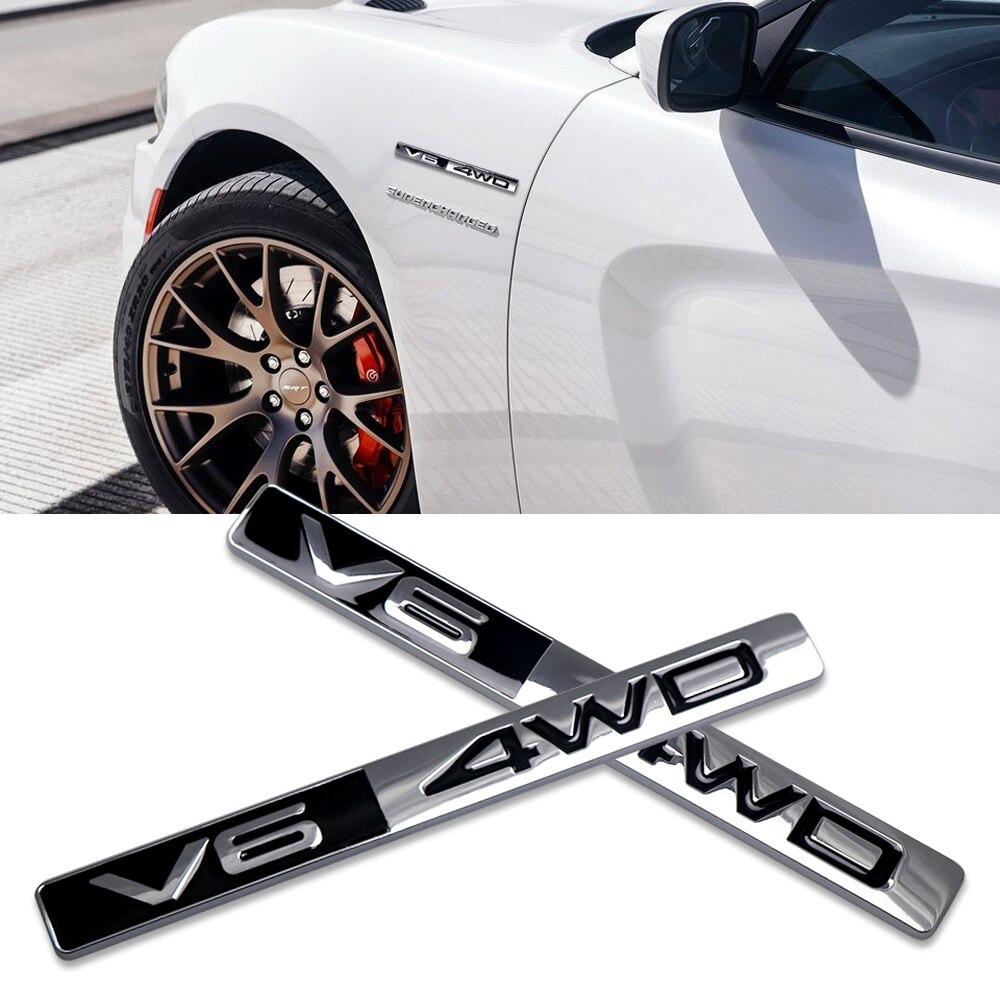 Pegatina de Metal 3D V6 4WD con emblema para pantalla de motor, pegatina de coche para Mercedes BMW, Audi, Volkswagen, SUV, maletero trasero, etiqueta de insignia todoterreno con estilo