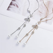 Pearl Crystal Pendant Leaves Flowers Multilay Pendant Necklace Chain Women Jewelry Tassel Sweater Chain Bijoux Jewelry Accessori(China)