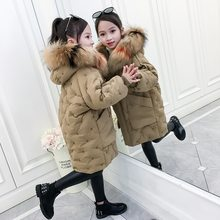 Kids Winter Jacket for Girls Cotton Jackets Thick Fur Collar Hooded Outerwear Children Jackets for Girls Clothes Teen Outfits(China)