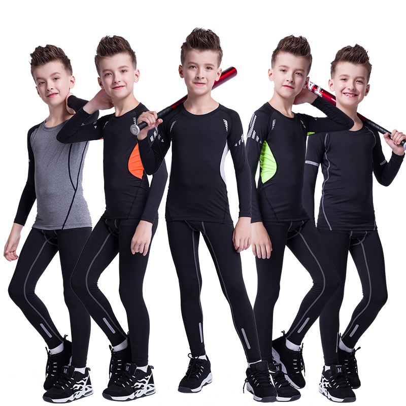 New Style Children Workout Clothes Tight Long-sleeve Suit Students Training Camp Basketball Football Elastic Quick-Dry Base Clot