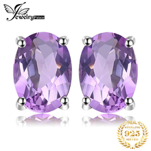 5*7mm Oval Cut Natural Amethyst Earring Stud 925 Sterling Silver Jewelry Women Vintage Fine Eternity Peace