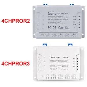 Image 2 - Sonoff 4CH פרו R2 10A/כנופיה 4 ערוץ Wifi חכם מתג 433 MHZ RF מרחוק Wifi אורות מתג תומך 4 מכשירים עובד עם Alexa