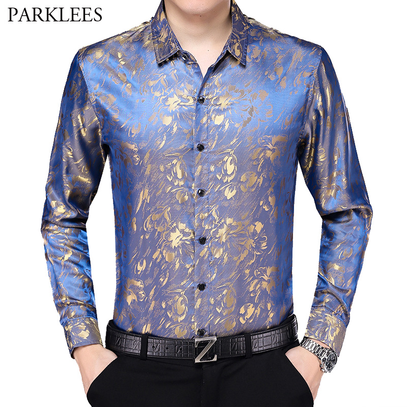 Floral Print Satin Silk Men Dress Shirts Comfortable Smooth Mens Shirt Business Work Casual Men Long Sleeve Slim Fit Men Chemise