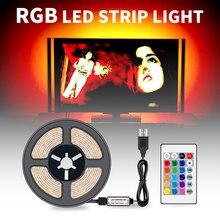RGB LED Strip Light 2835 SMD Flexible LED Lamp Tape Waterproof RGB Light Strips 0.5/1/2/3/4/5m Ribbon Fita DC 5V+Remote Control
