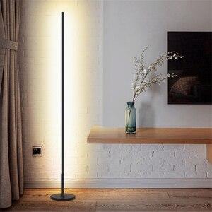 Image 3 - מודרני מינימליסטי LED מנורת רצפת נורדי עומד מנורות סלון שחור אלומיניום Luminaria Tripot מנורות Stand אור דקו סלון
