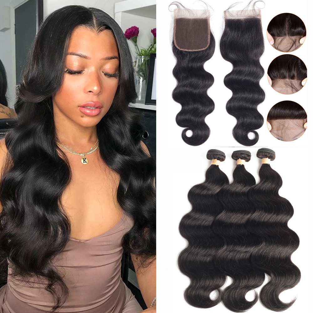 Sapphire Body Wave Bundles With Closure Brazilian Hair Weave Bundles With Closure Human Hair Bundles With Closure Hair Extension