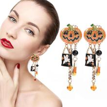 1pair New Creative Pumpkin Drop Oil Funny Earrings Halloween Long Spider